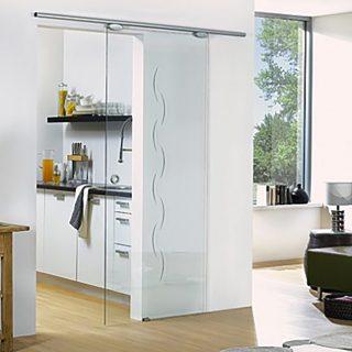 Характеристики Раздвижная одностворчатая стеклянная дверь с узором. Стандартные размеры:  60-90 CM (Ширина) X 200 CM (Высота)  Наполнение: стеклянная панель размером 200х60 см, металлические крепления и дверные ручки.  Базовая цена: