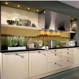 """Характеристики Фартук для кухни из серии """"Ландшафт"""". Стандартные размеры:  - 300 CM (Ширина) X 60CM (Высота)  Наполнение: стеклянная панель размером 300х60 см."""