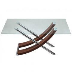 стол из стекла и дерева