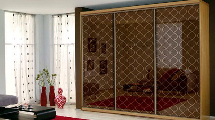 3-дверный шкаф-купе с декоративной пленкой Туркузан цвет Бронза