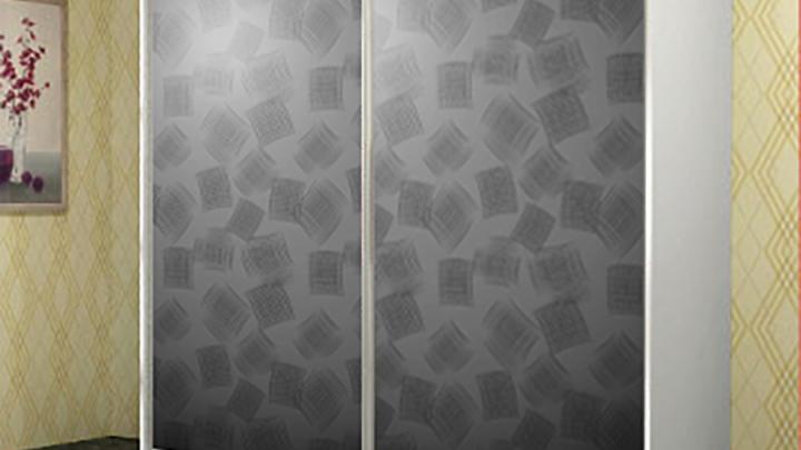 2-дверный шкаф-купе GM-6008 Серебро с рисунком