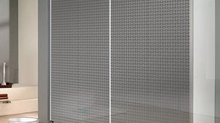 2-дверный корпусный шкаф-купе с декоративной пленкой «Плетенка» Серебро