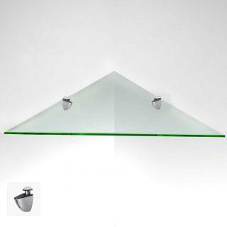 Угловая полка из прозрачного стекла — отличное решение для рационального использования пространства в помещении или ванной комнате.  В нашей компании вы можете заказать любой размер и оттенок.