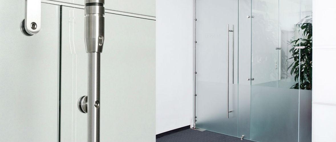 стеклянные двери маятниковые